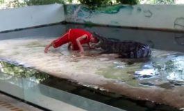 Ја стави главата во устата на крокодилот, а тој го фати со забите... (видео)
