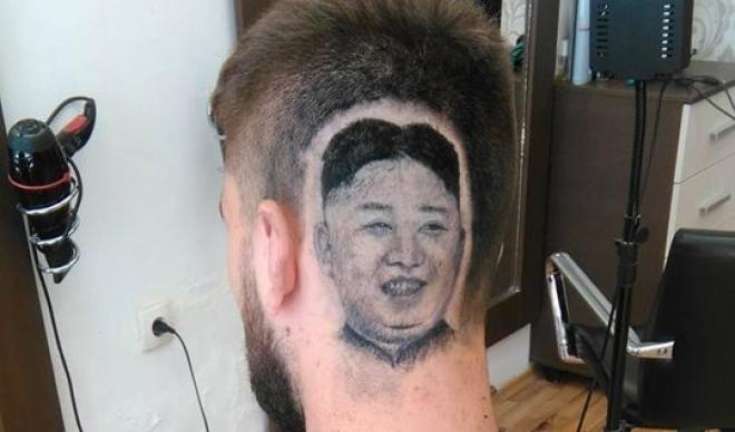 Српски фризер на главата на свој муштерија направи портрет на Ким Џонг Ун (фото+видео)