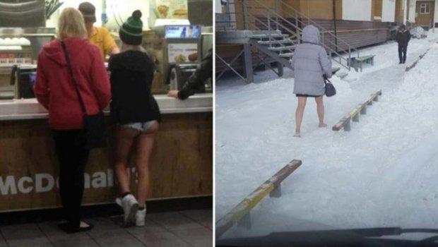 Во Русија падна снег, време е за голи луѓе по улиците (фото)
