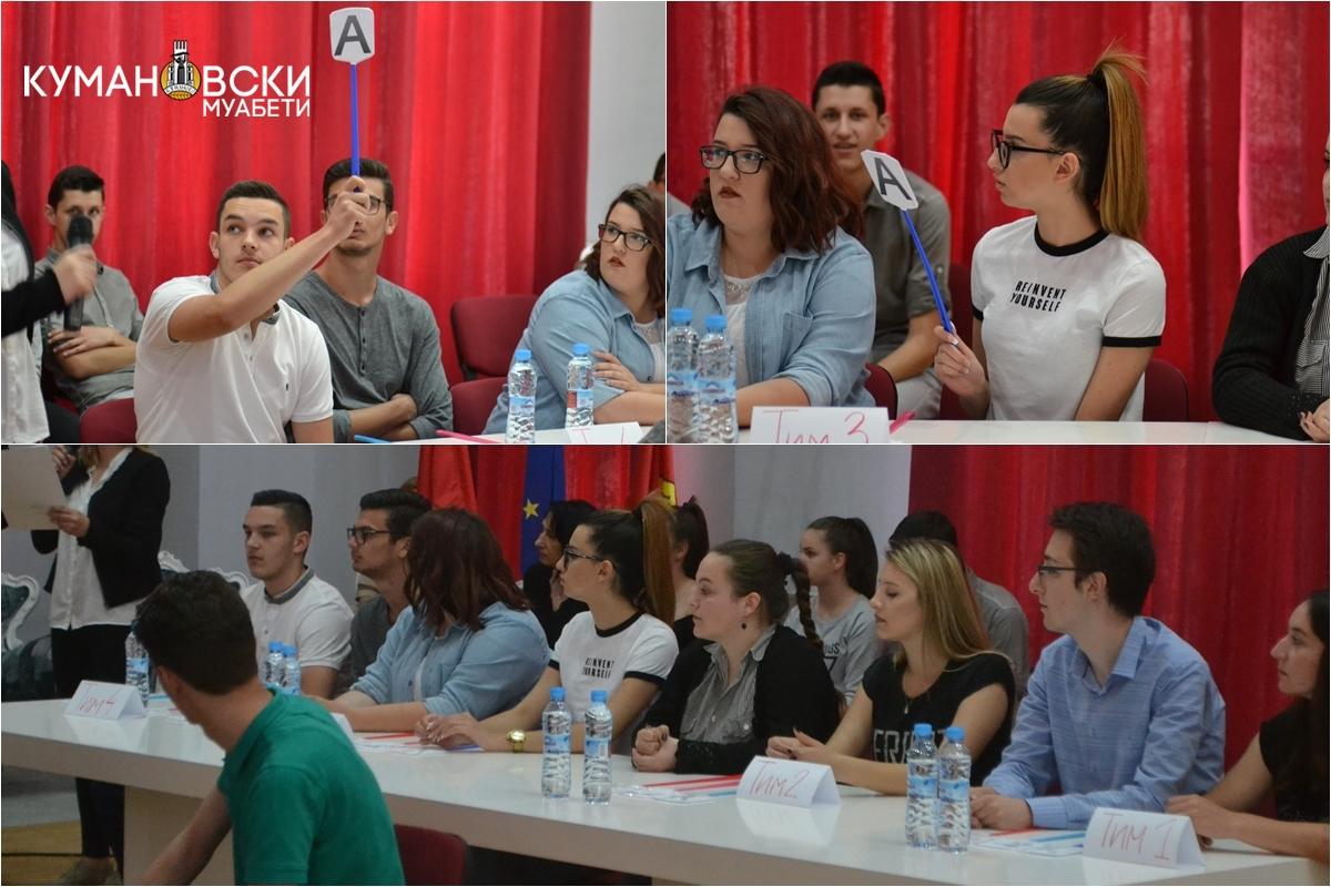 (ГАЛЕРИЈА) Средношколците од Куманово се натпреваруваа во квизот за ЕУ