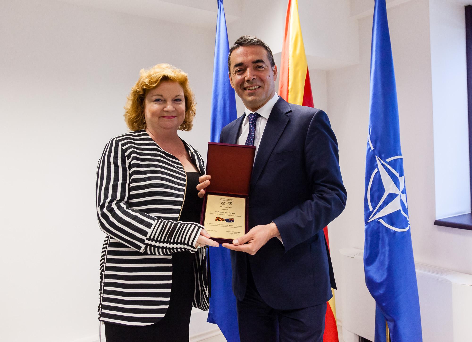 Проштална средба на министерот Димитров со амбасадорката на Австралија Џулија Фини