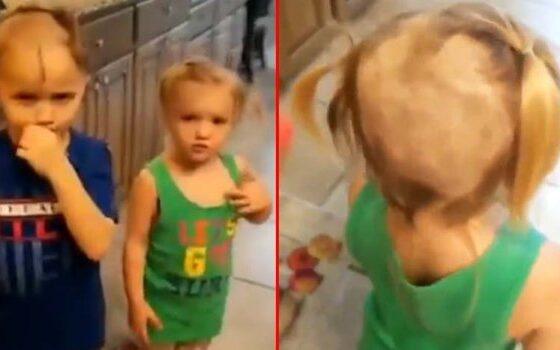 Момче го понашло бричот па на сестра му и себеси направил нови фризури (ВИДЕО)