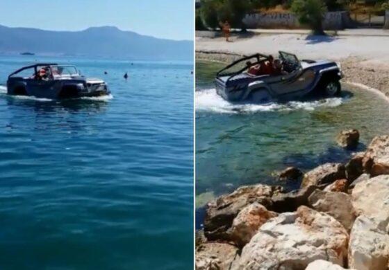 Излегоа на плажа со џип од морето  – Неверојатна сцена од Јадранот (ВИДЕО)