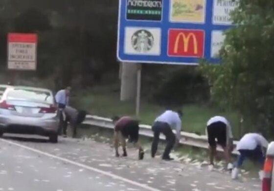 Дожд на кој сите му се израдуваа: Пари паѓаа од небо на автопат (ВИДЕО)