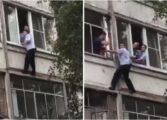 Пијан татко сакал да го фрли своето бебе низ прозорец, а тогаш на балконот се качи полицаец (ВИДЕО)