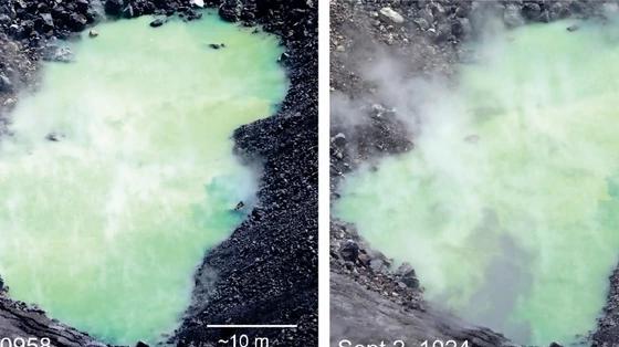 НАУЧНИЦИТЕ ЗБУНЕТИ: По ерупцијата на вулканот се појавило зелено езеро, кое секој ден е се поголемо (ВИДЕО)